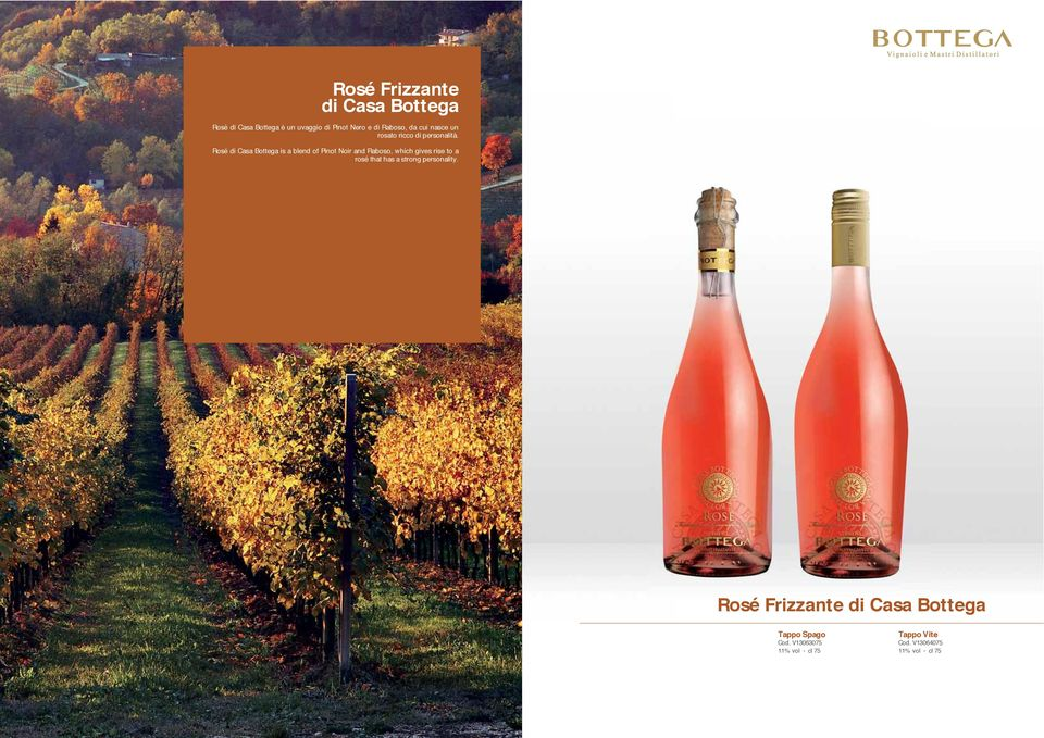 Rosé di Casa Bottega is a blend of Pinot Noir and Raboso, which gives rise to a rosé that