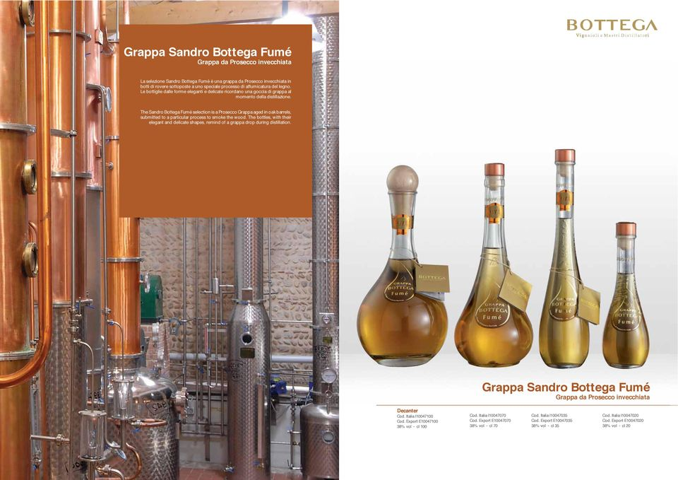 The Sandro Bottega Fumé selection is a Prosecco Grappa aged in oak barrels, submitted to a particular process to smoke the wood.
