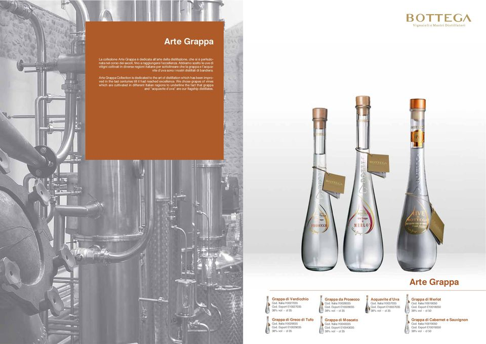 Arte Grappa Collection is dedicated to the art of distillation which has been improved in the last centuries till it had reached excellence.