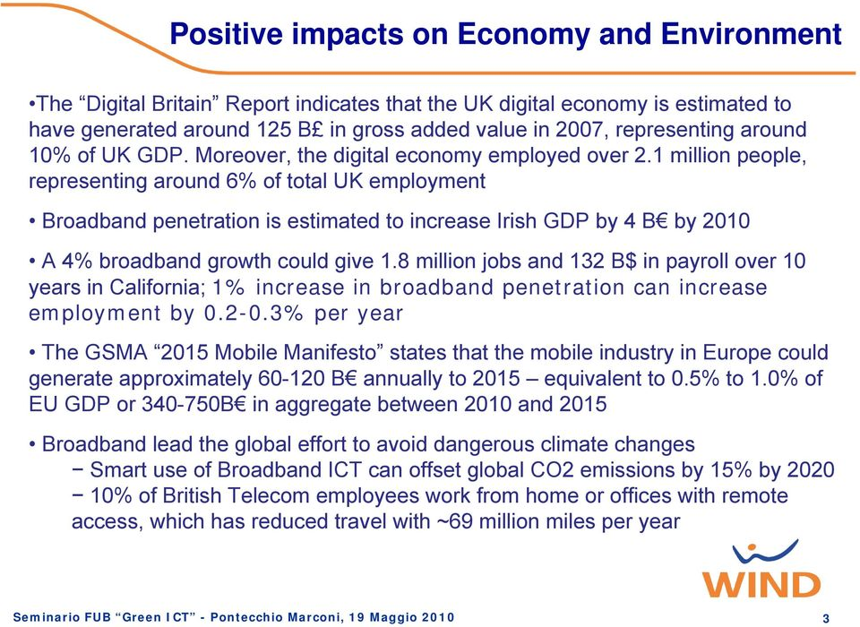 1 million people, representing around 6% of total UK employment Broadband penetration is estimated to increase Irish GDP by 4 B by 2010 A 4% broadband growth could give 1.