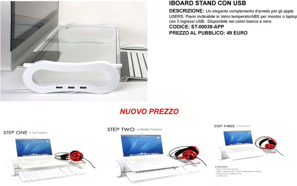 Piano inclinabile in Vetro temperato/abs per monitor o laptop con 3