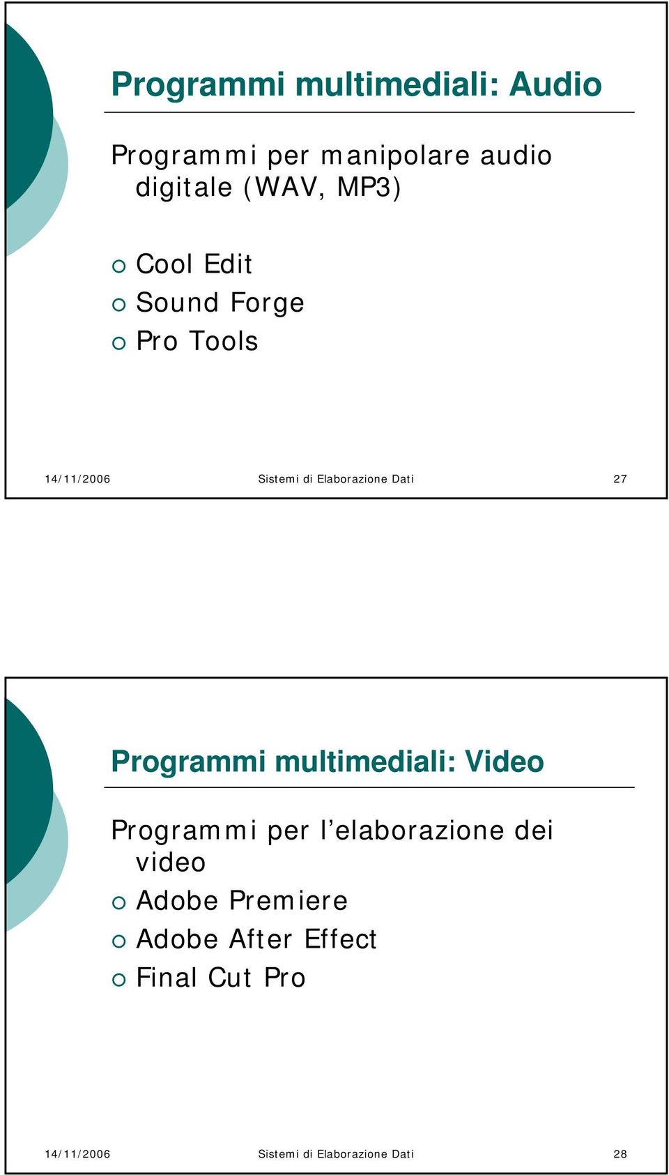 27 Programmi multimediali: Video Programmi per l elaborazione dei video Adobe