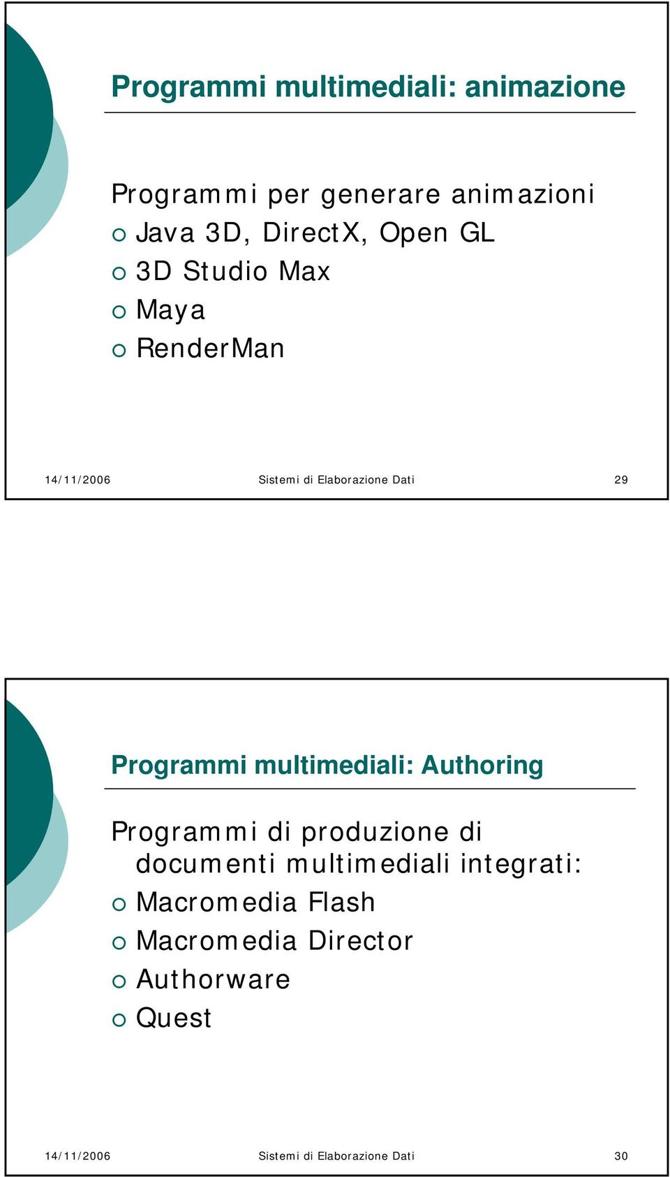 multimediali: Authoring Programmi di produzione di documenti multimediali integrati: