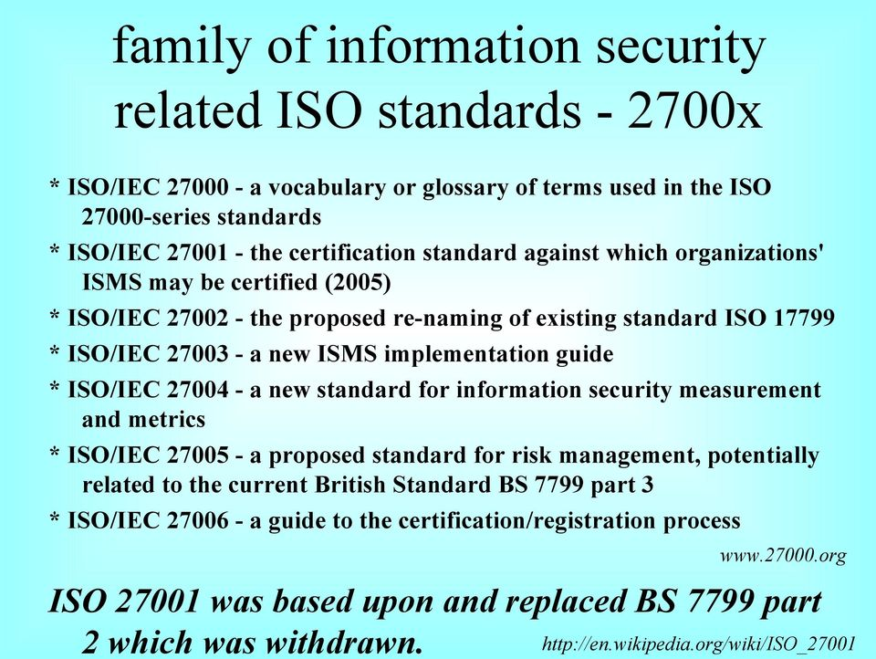 ISO/IEC 27004 - a new standard for information security measurement and metrics * ISO/IEC 27005 - a proposed standard for risk management, potentially related to the current British Standard BS