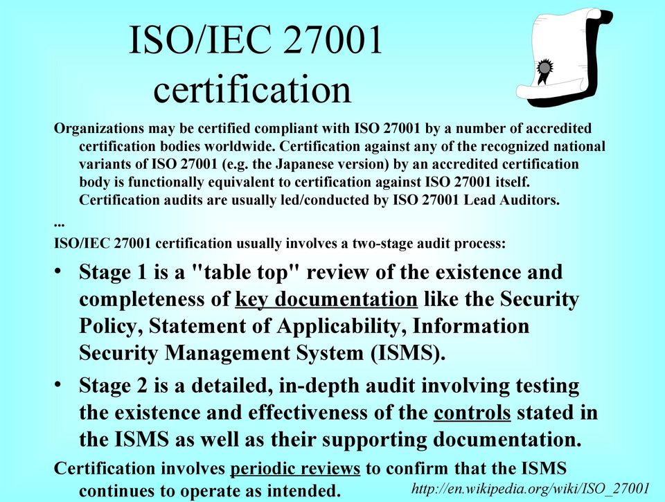 Certification audits are usually led/conducted by ISO 27001 Lead Auditors.