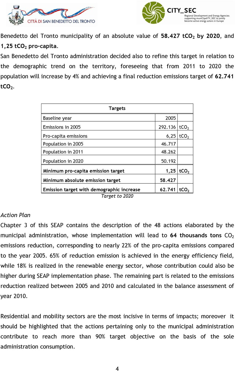 and achieving a final reduction emissions target of 62.741 tco 2. Targets Baseline year 2005 Emissions in 2005 292.136 tco 2 Pro-capita emissions 6,25 tco 2 Population in 2005 46.