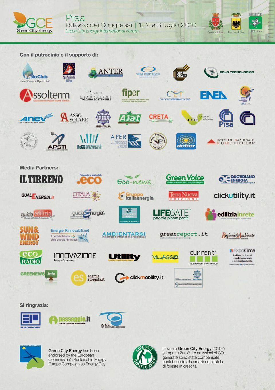 Campaign as Energy Day L evento Green City Energy 2010 è a Impatto Zero.