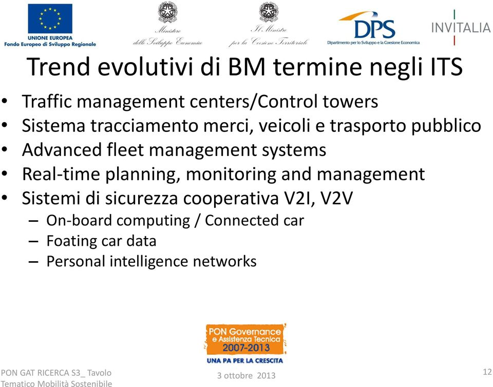 systems Real-time planning, monitoring and management Sistemi di sicurezza cooperativa