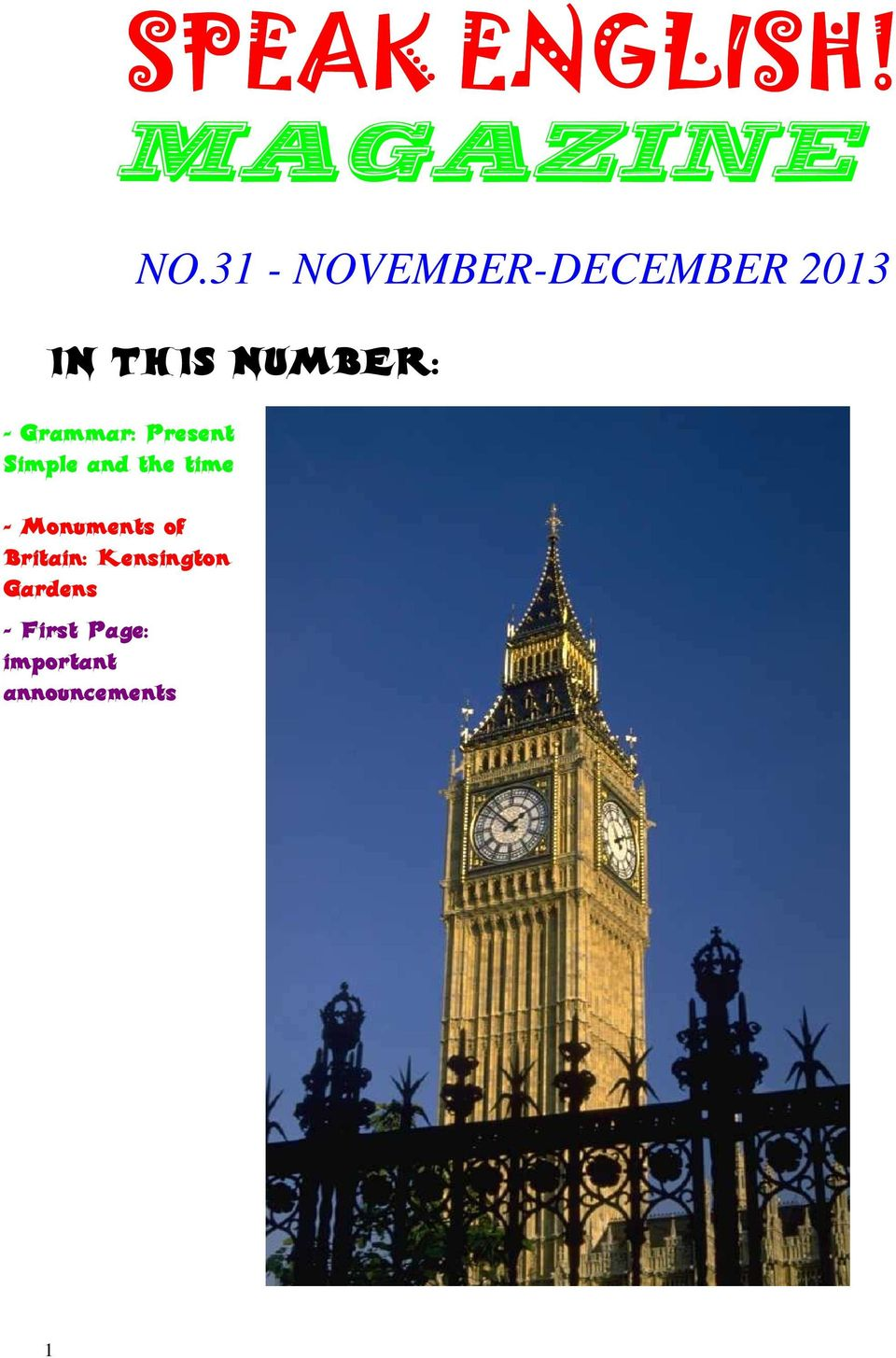 31 - NOVEMBER-DECEMBER 2013 IN THIS NUMBER: -