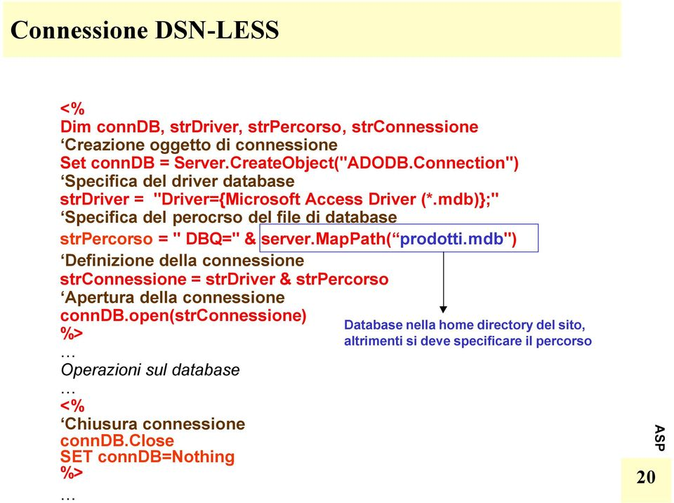 "mdb)};"" Specifica del percrs del file di database strpercrs = "" DBQ="" & server.mappath( prdtti."