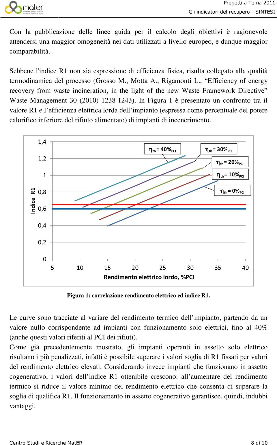 , Efficiency of energy recovery from waste incineration, in the light of the new Waste Framework Directive Waste Management 30 (2010) 1238-1243).