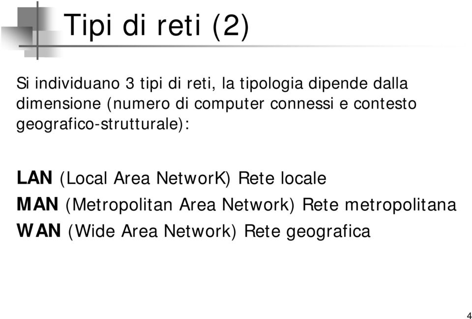 geografico-strutturale): LAN (Local Area NetworK) Rete locale MAN