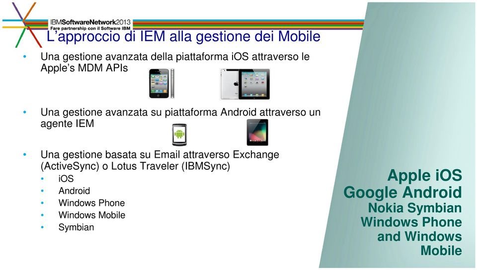 gestione basata su Email attraverso Exchange (ActiveSync) o Lotus Traveler (IBMSync) ios Android
