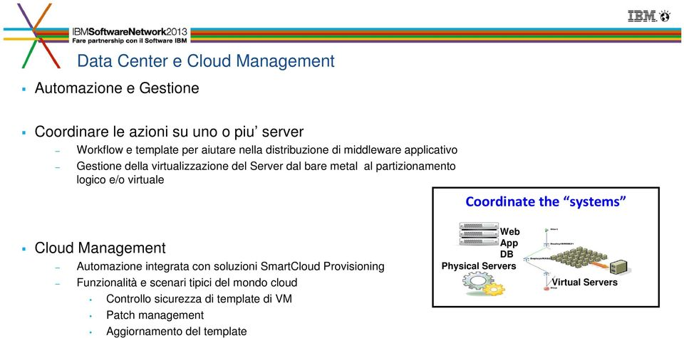 virtuale Coordinate the systems Cloud Management Automazione integrata con soluzioni SmartCloud Provisioning Funzionalità e scenari