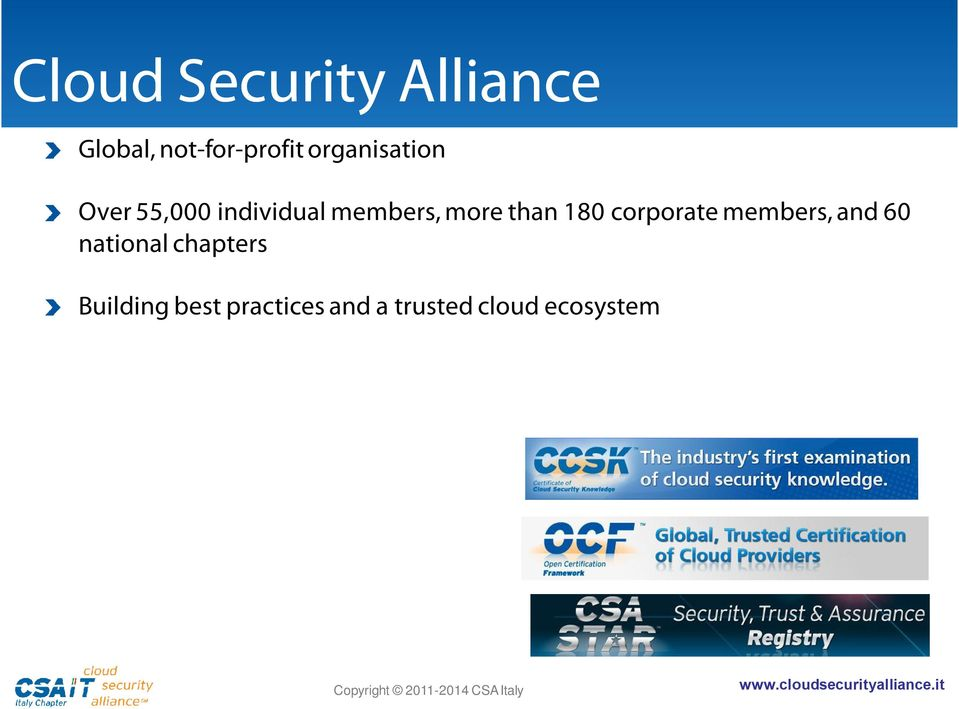 and a trusted cloud ecosystem Over 20 Working Groups CSP certification (STAR) and cloud