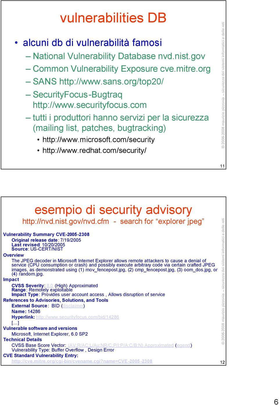 redhat.com/security/ 11 esempio di security advisory http://nvd.nist.gov/nvd.