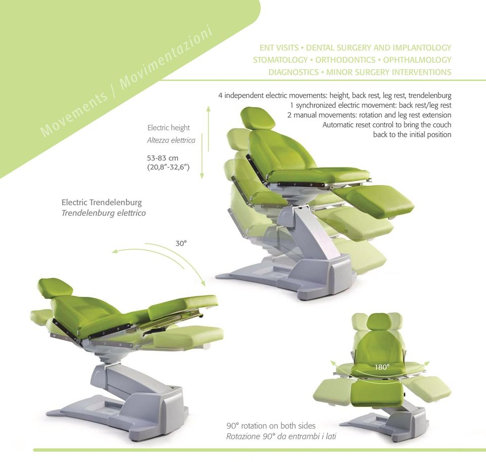 movement: back rest/leg rest 2 manual movements: rotation and leg rest extension Automatic reset control to bring the couch back to the
