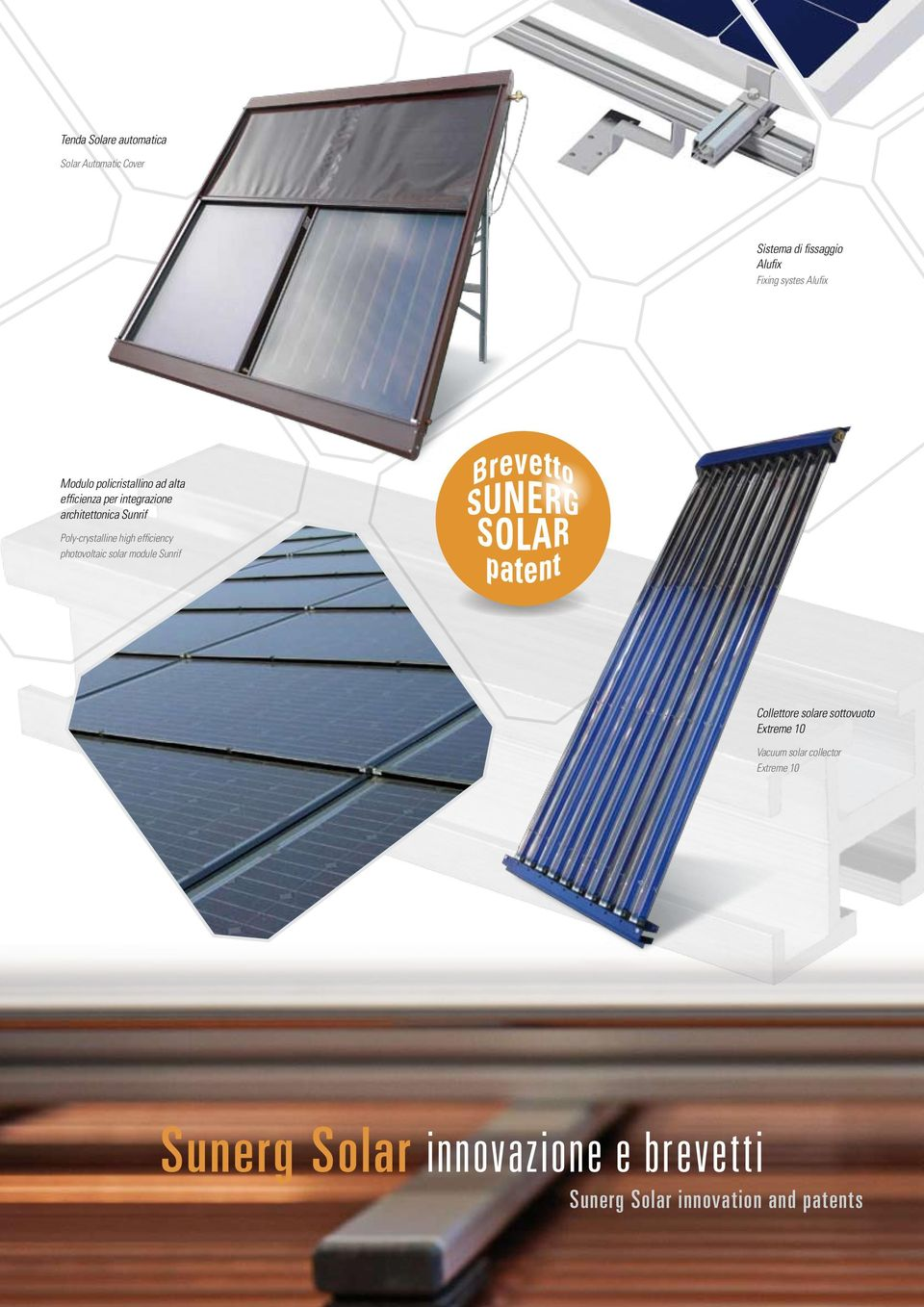 Poly-crystalline high efficiency photovoltaic solar module Sunrif Collettore solare sottovuoto