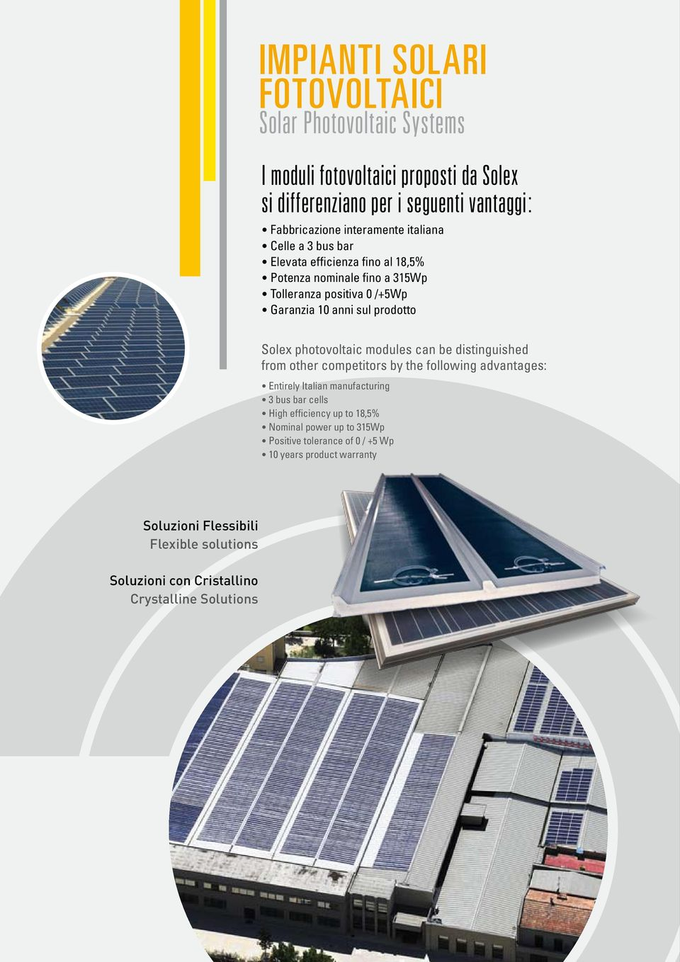 photovoltaic modules can be distinguished from other competitors by the following advantages: Entirely Italian manufacturing 3 bus bar cells High efficiency up to