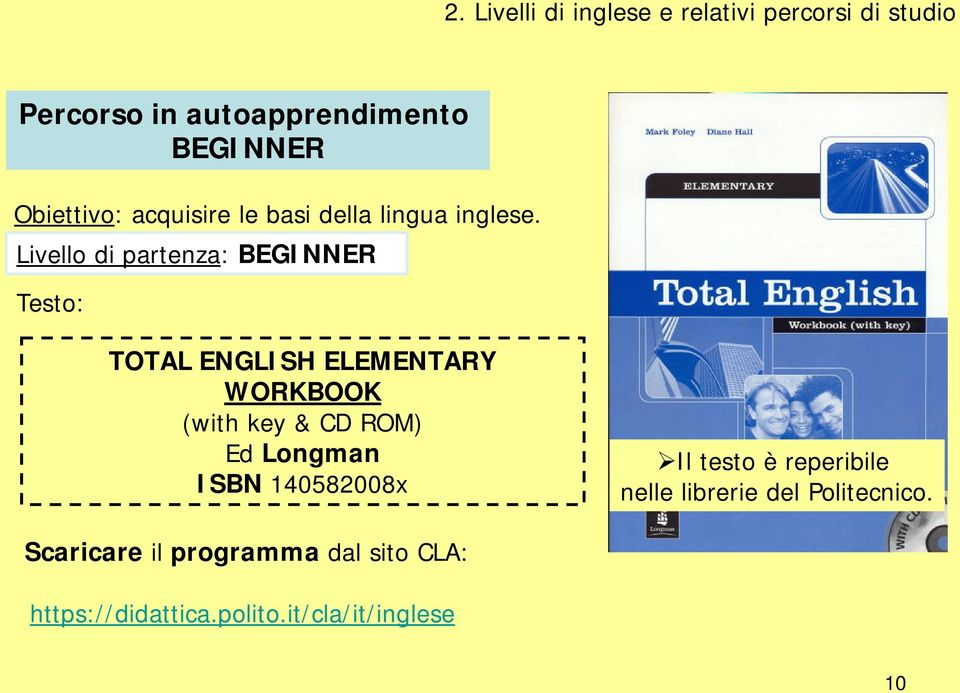 Livello di partenza: BEGINNER Testo: TOTAL ENGLISH ELEMENTARY WORKBOOK (with key & CD ROM) Ed