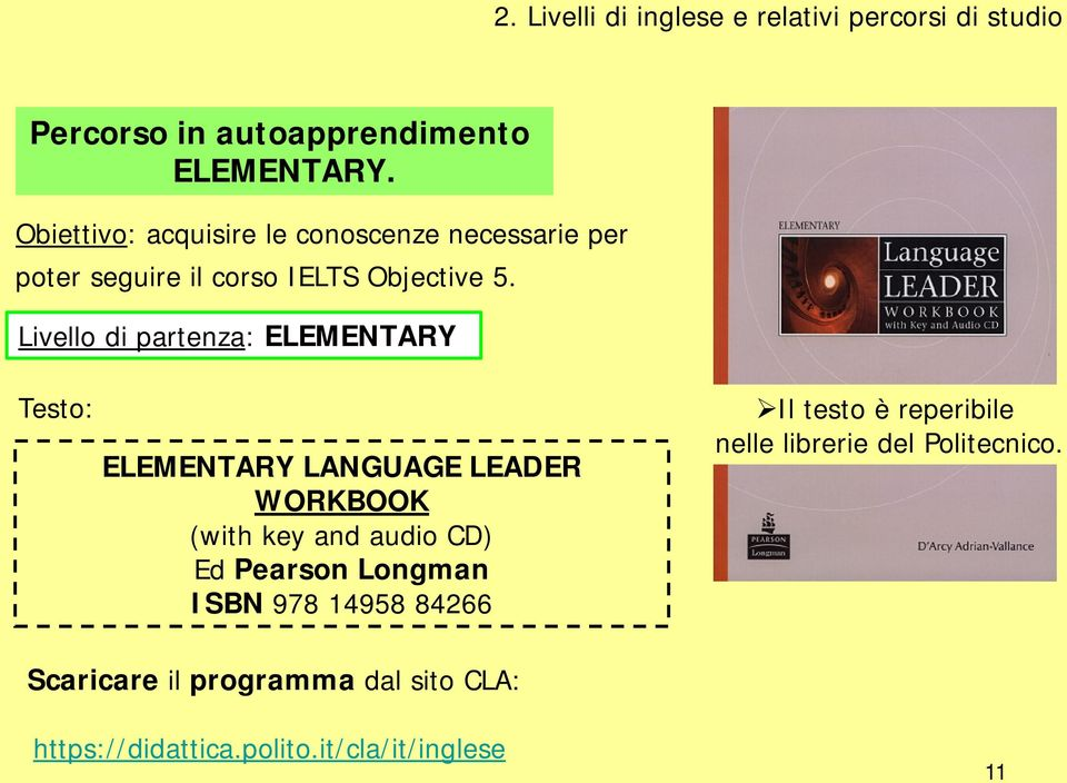 Livello di partenza: ELEMENTARY Testo: ELEMENTARY LANGUAGE LEADER WORKBOOK (with key and audio CD) Ed Pearson