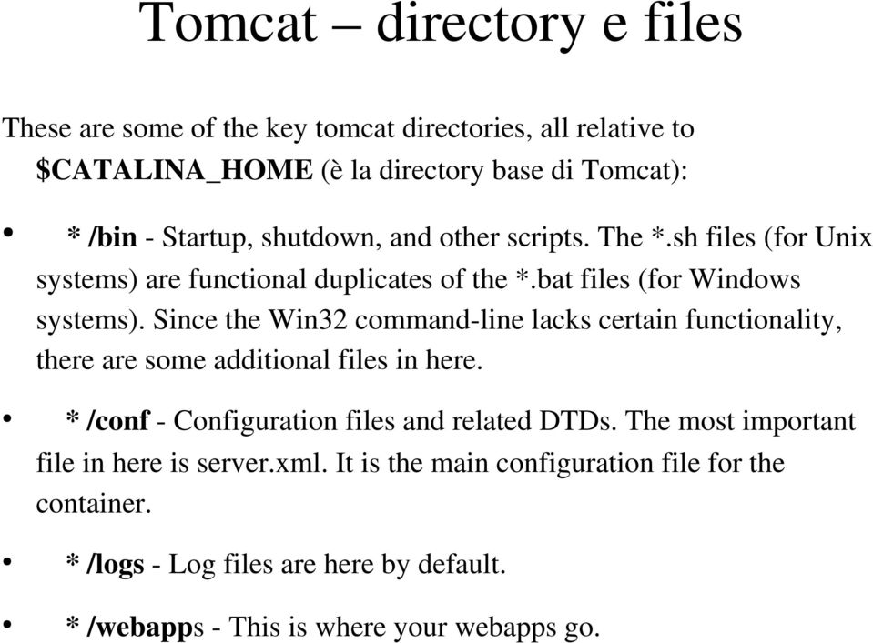 Since the Win32 command line lacks certain functionality, there are some additional files in here. * /conf Configuration files and related DTDs.