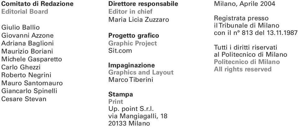 Project Sit.com Impaginazione Graphics and Layout Marco Tiberini Stampa Print Up. point S.r.l.