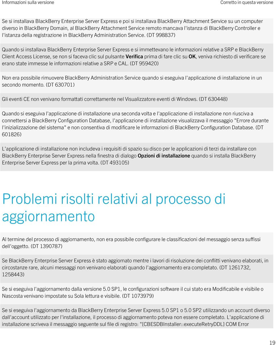 (DT 998837) Quando si installava BlackBerry Enterprise Server Express e si immettevano le informazioni relative a SRP e BlackBerry Client Access License, se non si faceva clic sul pulsante Verifica