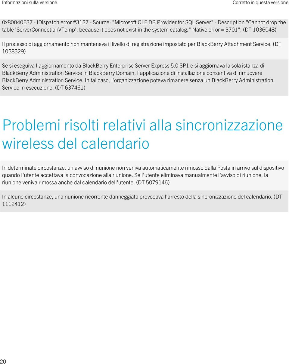 (DT 1028329) Se si eseguiva l'aggiornamento da BlackBerry Enterprise Server Express 5.