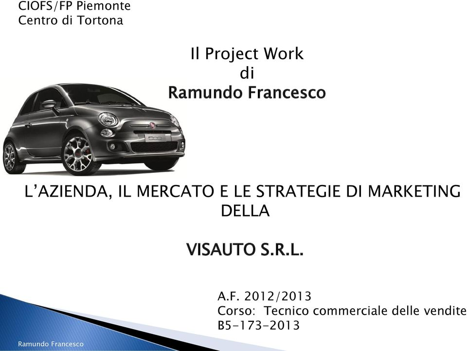 MARKETING DELLA VISAUTO S.R.L. A.F.