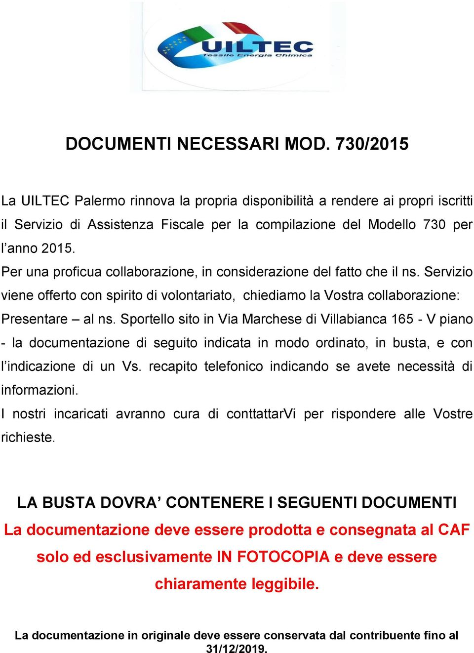 Documenti necessari mod 730 pdf for Documenti per 730