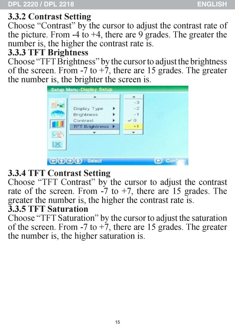The greater the number is, the brighter the screen is. 3.3.4 TFT Contrast Setting Choose TFT Contrast by the cursor to adjust the contrast rate of the screen. From -7 to +7, there are 15 grades.
