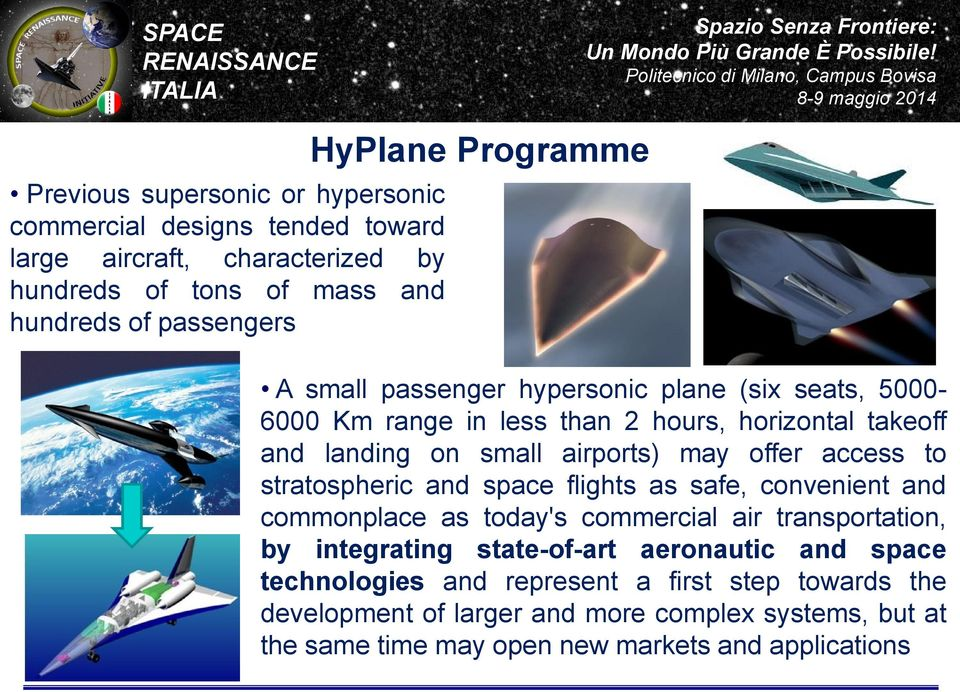 access to stratospheric and space flights as safe, convenient and commonplace as today's commercial air transportation, by integrating state-of-art aeronautic