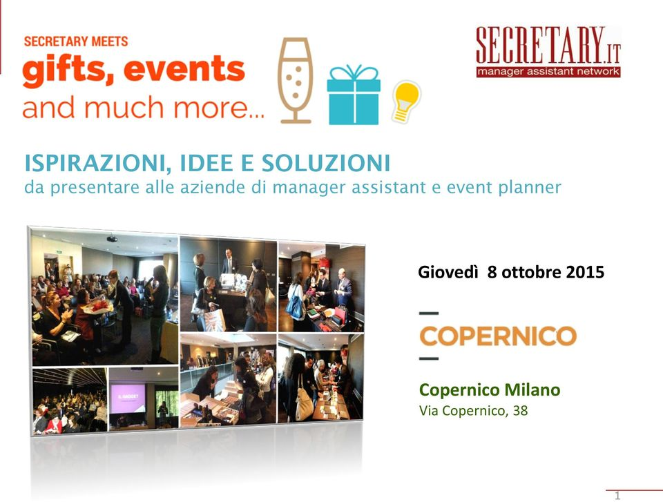 assistant e event planner Giovedì 8