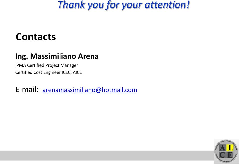 Massimiliano Arena IPMA Certified Project