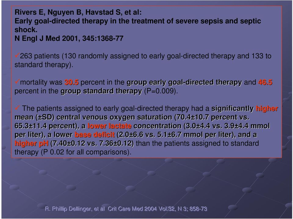 5 percent in the group early goal-directed therapy and 46.5 percent in the group standard therapy (P=0.009).