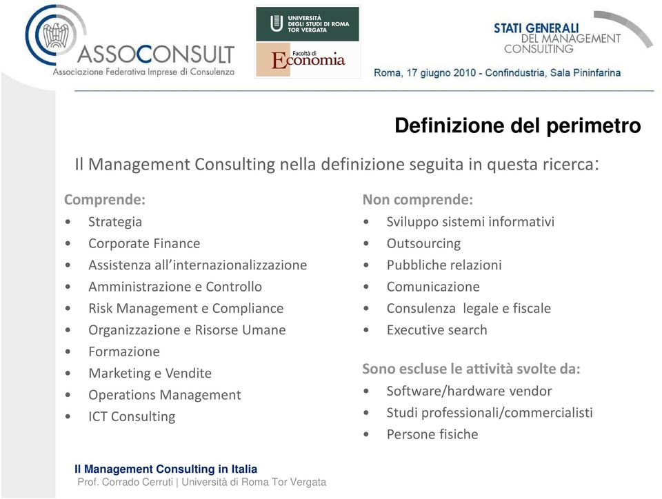 Marketing e Vendite OperationsManagement ICT Consulting Non comprende: Sviluppo sistemi informativi Outsourcing Pubbliche relazioni