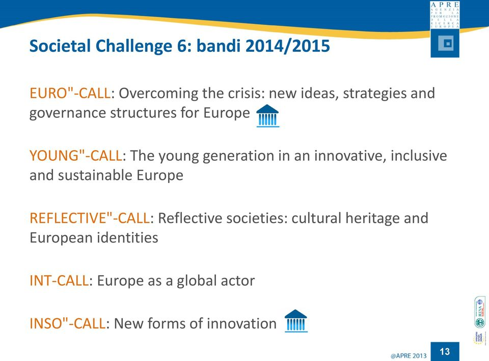 "innovative, inclusive and sustainable Europe REFLECTIVE""-CALL: Reflective societies:"