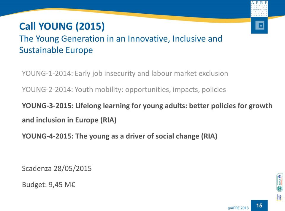 policies YOUNG-3-2015: Lifelong learning for young adults: better policies for growth and inclusion in