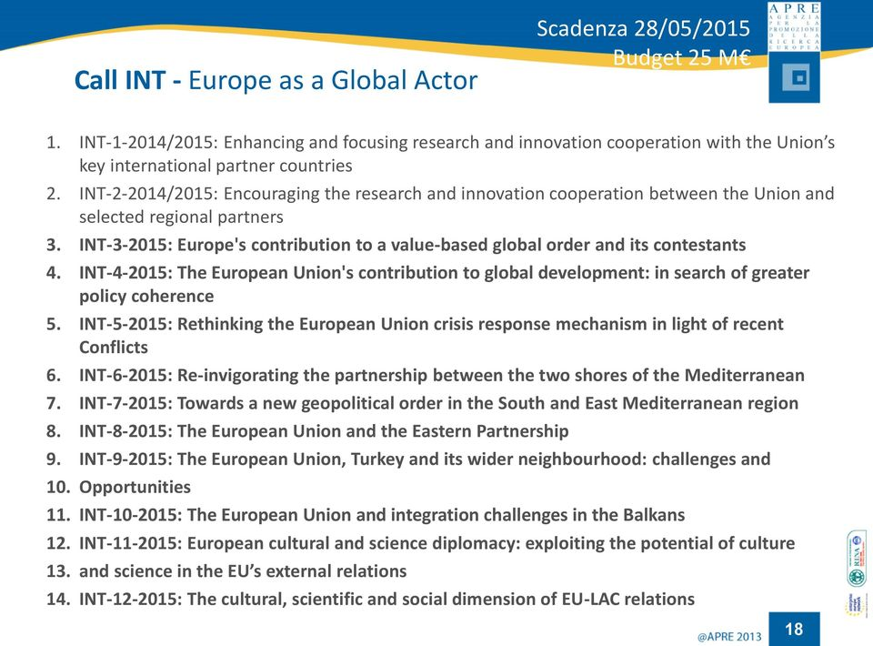 INT-2-2014/2015: Encouraging the research and innovation cooperation between the Union and selected regional partners 3.