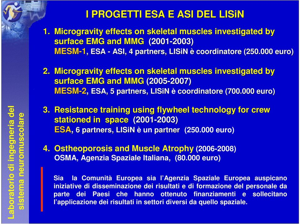 000 euro) Laboratorio di ingegneria del sistema neuromuscolare 3. Resistance training using flywheel technology for crew stationed in space (2001-2003) 2003) ESA, 6 partners, LISiN è un partner (250.