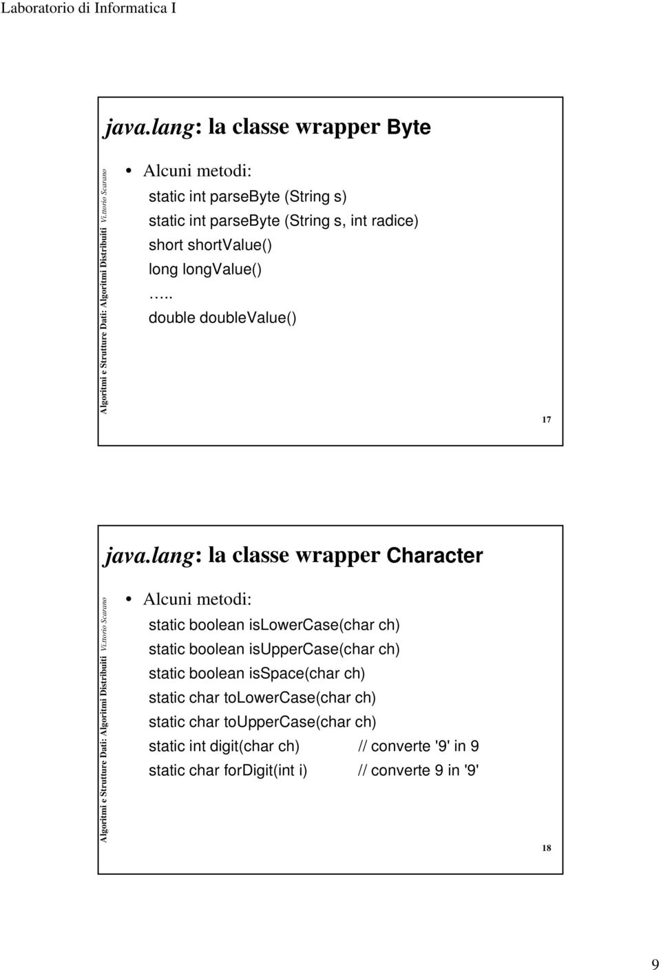lang: la classe wrapper Character Alcuni metodi: static boolean islowercase(char ch) static boolean isuppercase(char ch) static