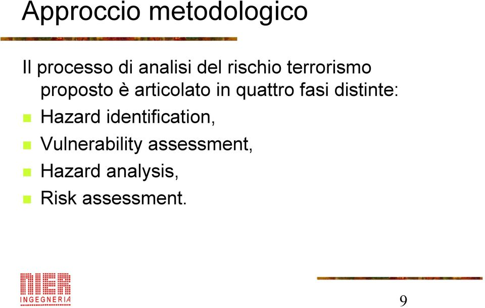 quattro fasi distinte: Hazard identification,