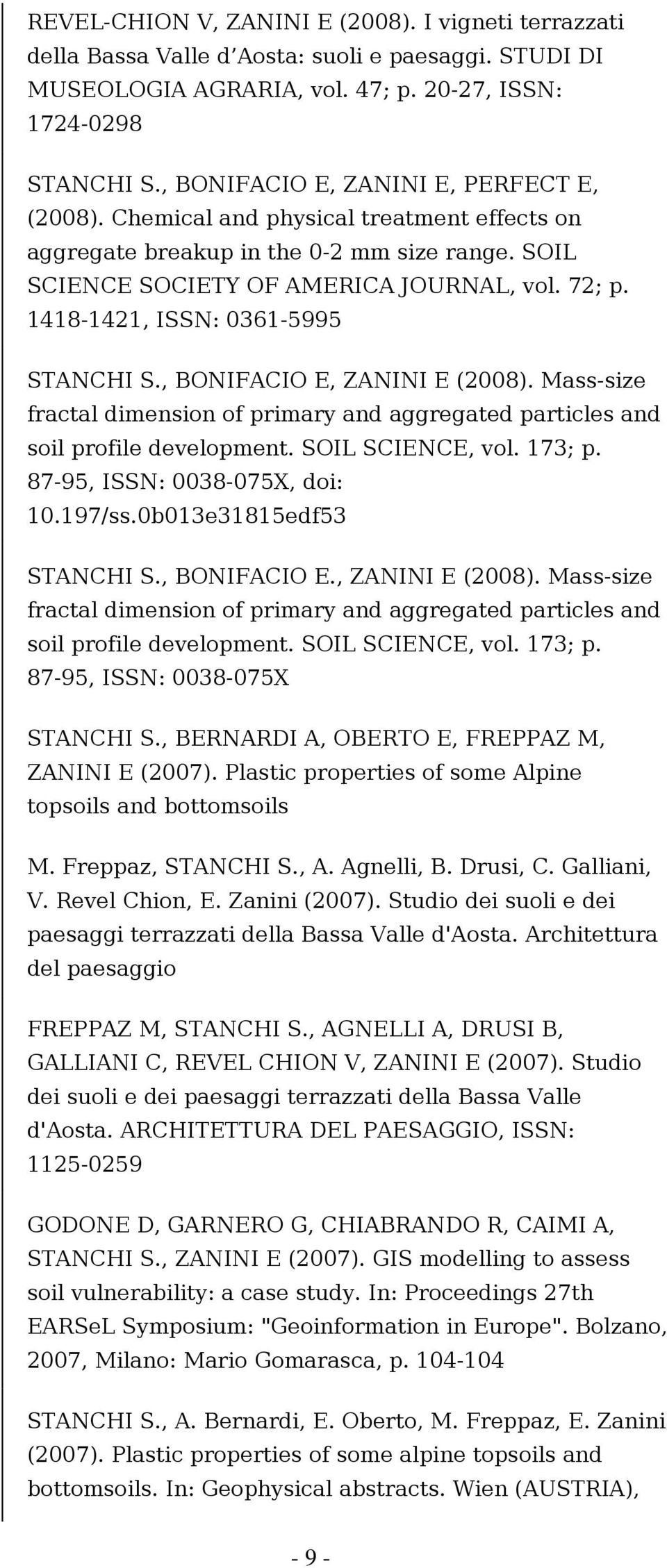 1418-1421, ISSN: 0361-5995 STANCHI S., BONIFACIO E, ZANINI E (2008). Mass-size fractal dimension of primary and aggregated particles and soil profile development. SOIL SCIENCE, vol. 173; p.