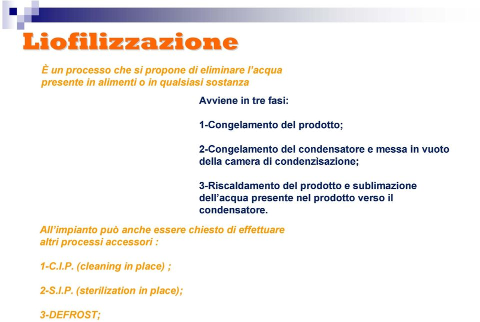 P. (cleaning in place) ; 2-S.I.P. (sterilization in place); 3-DEFROST; 2-Congelamento del condensatore e messa in vuoto