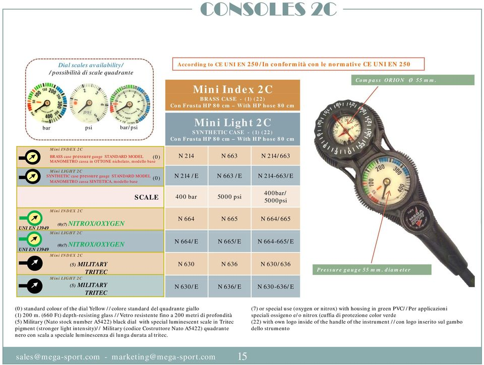 - (1) (22) Mini Light 2C SYNTHETIC CASE - (1) (22) N 214 N 663 N 214/663 N 214 /E N 663 /E N 214-663/E Compass ORION Ø 55 mm.