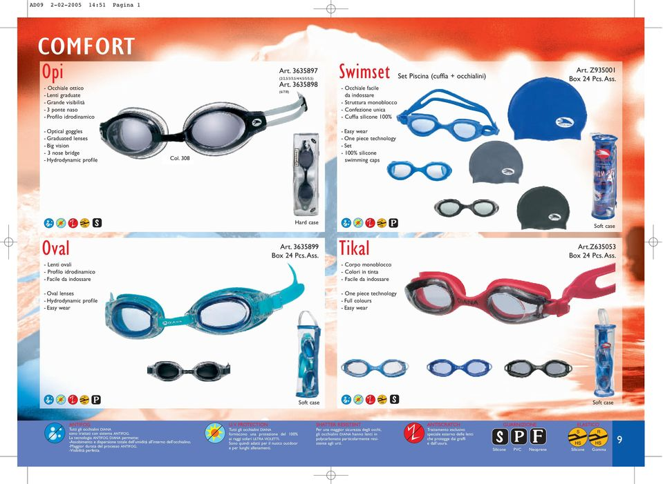 Z935001 - Optical goggles - Graduated lenses - Big vision - 3 nose bridge - Hydrodynamic profile Col. 308 - Easy wear - Set - 100% silicone swimming caps Hard case Soft case Art. 3635899 Art.