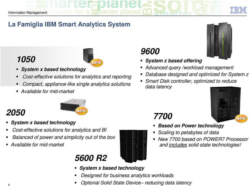 based technology Cost-effective solutions for analytics and BI Balanced of power and simplicity out of the box Available for mid-market 7700 Based on Power technology Scaling to petabytes of