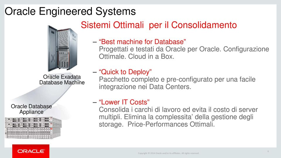 Oracle Database Appliance Oracle Exadata Database Machine Quick to Deploy Pacchetto completo e pre-configurato per una