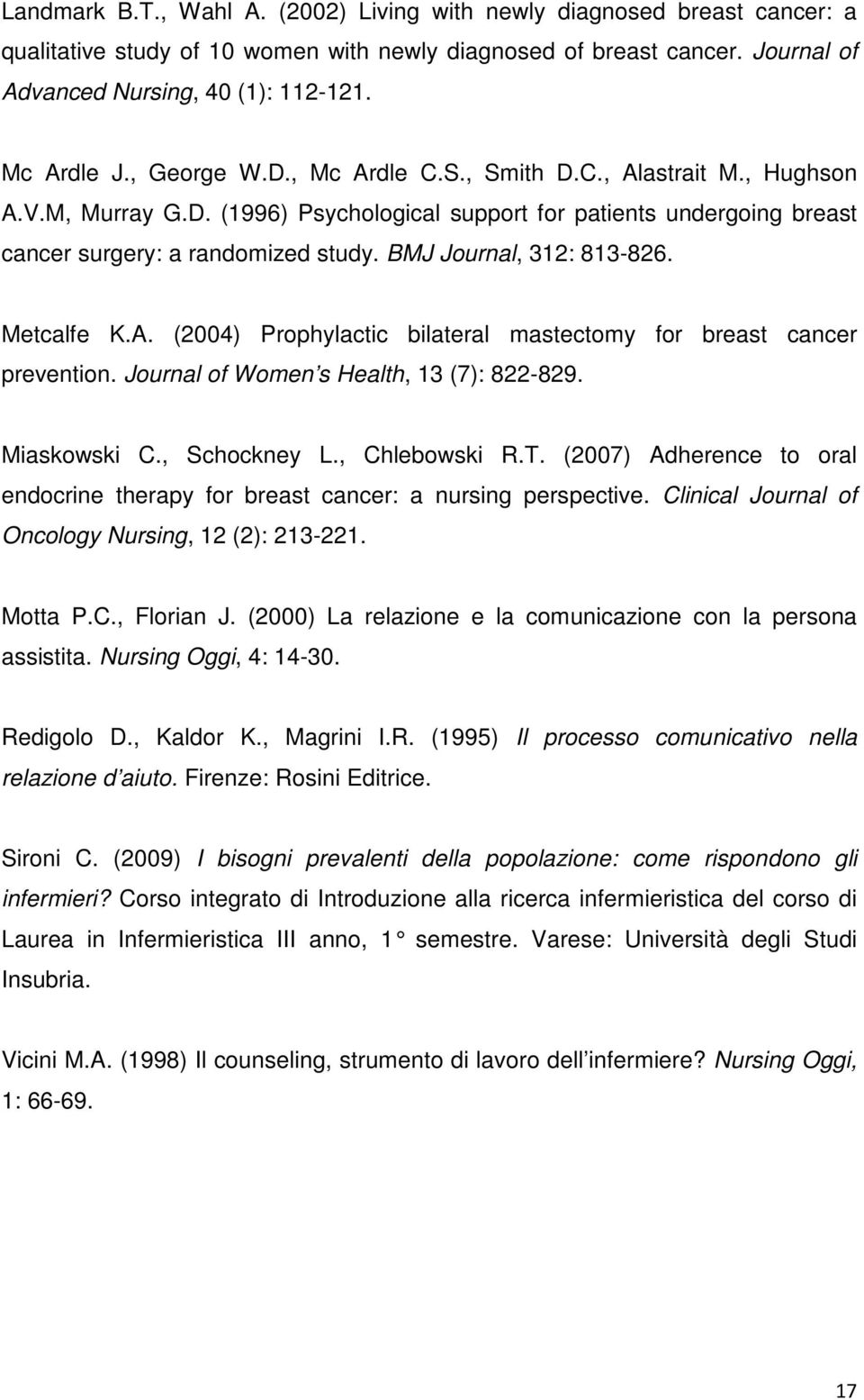 BMJ Journal, 312: 813-826. Metcalfe K.A. (2004) Prophylactic bilateral mastectomy for breast cancer prevention. Journal of Women s Health, 13 (7): 822-829. Miaskowski C., Schockney L., Chlebowski R.T.